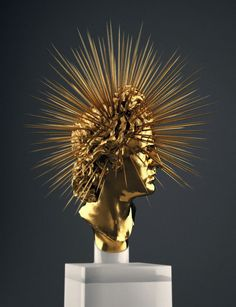 Hedi Xandt -- Apollo Rey, all-gold and marble sculpture. Art Noir, 3d Cinema, Arte Obscura, Art Sculpture, Unusual Art, Wow Art, Art And Technology, Installation Art, Dark Art