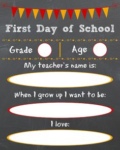 free first day of school chalkboard sign 100 Days Of School, First Day Of School, School Fun, School Chalkboard, Chalkboard Signs, Teacher Name, Teacher Gifts, School Grades, Genealogy Research