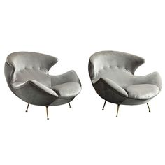 """Giant Sculptural Italian Modern Armchairs circa 1960...gray velvet...but I see them in my  mindseye in kidskin leather....""""T"""""""
