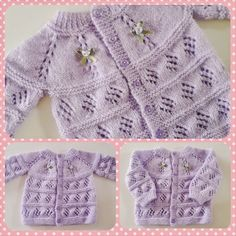 Casaquinho Lilás do Blog Cores e Agulhas   Blog-By-Day Kids Knitting Patterns, Baby Cardigan Knitting Pattern, Baby Patterns, Crochet Patterns, Pull Bebe, Foto Blog, Baby Pullover, Boys Sweaters, Easy Crochet