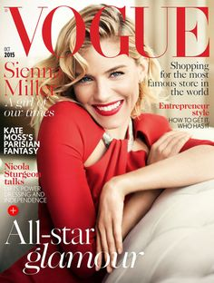 Sienna Miller Lands Sixth Vogue UK Cover  Actress Sienna Miller marks her sixth appearance on Vogue UK with the magazine's October 2015 cover. The blonde starlet looks all smiles in a red number while posing for Mario Testino. In addition to her cover, Sienna stars in a film for British Vogue where she recites a love letter to England including topics like fish and chips as well as the weather.