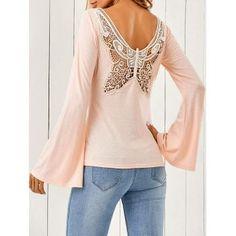 Butterfly Pattern Flare Sleeve T-Shirt