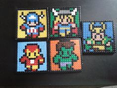 Five Avengers Handcrafted Hama Bead Coaster set (includes Loki) by comicraftdesign