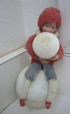 Antique German Heubach Googly eye candy container sitting on a snowball. 7 x 3 has molded hair, bisque hands. The cotton on his arms & hat is worn. Victorian Christmas Ornaments, Christmas Candy, Vintage Christmas, Antique Dolls, Vintage Dolls, Star Of Bethlehem, Googly Eyes, Vintage Candy, Candy Containers