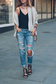 Ripped jeans and lace up heels