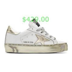 $429.00 Low-top buffed leather sneakers in white. Perforated detailing, smudging, and distressing throughout. Round toe. Grey lace-up closure. Black logo patch at tongue. Padded collar. Star applique in gold-tone at outer side. Heel tab in gold-tone featuring logo printed in black. Gold-tone rubber midsole featuring logo text printed in grey and distressed detailing throughout. Treaded rubber outsole in black. Approx. 1 platform.Supplier color: White #luxuryfashion #luxuryfashiontrends… Leather Sneakers, Black Gold, Luxury Fashion, Lace Up, Stars, Heels, Heel, Sterne, High Heel