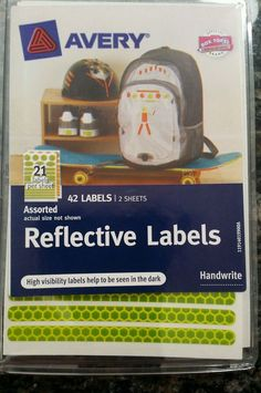 Safety Reflective Labels Yellow-Green and Orange 42 stickers Permenant shapes #Avery