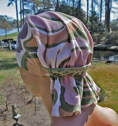 Chemo hat headscarves for patient hat-doo rag head wrap recycled upcycled scrub cancer hat head wrap hairloss
