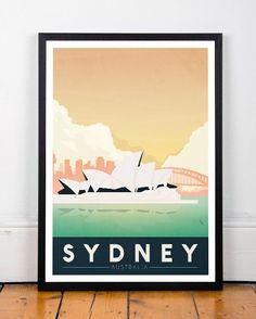 Sydney afdrukken Poster kunst aan de muur door ShopTempsModernes