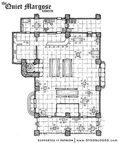 The Quiet Margose Tavern Fantasy City, Fantasy Map, Medieval Fantasy, Dungeons And Dragons Figures, Dungeons And Dragons Homebrew, Rpg Map, Building Map, Dungeon Maps, Environment Concept Art
