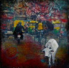 #Original #Abstract #Painting #Encaustic #MixedMedia #India #Art #Wax #Cow #Traffic #Wanderlust #Busy