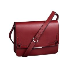 Marcello de Cartier bag with long strap - Red calfskin with palladium finish - Fine Hand bags for women - Cartier