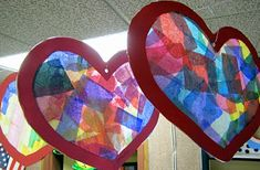 Valentine Stain Glass  window hanging craft for kids