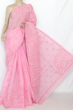 Pink Colour Hand Embroidered Lucknowi Chikankari Saree (With Blouse - Cotton) 12810 , Buy Cotton Chikankari Sarees online, Pure Cotton Chikankari Sarees, Trendy Cotton Chikankari Sarees ,Partywear Collection , online shopping india, sarees , sweets, cameras, shoes, watches, appliances, apparel, sweets online in india | www.maanacreation.com