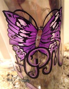 Handpainted butterfly tumbler- Large on Etsy, $35.00