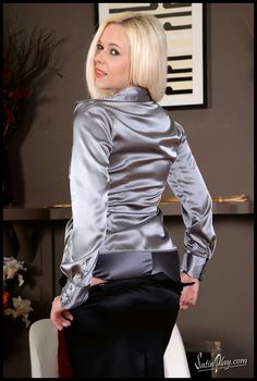 Really like silver and black together. Sexy Blouse, Blouse And Skirt, Satin Top, Silk Satin, Secretary Outfits, Sexy Outfits, Fashion Outfits, Fashion Top, Satin Pencil Skirt