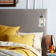 Tall Simple Upholstered Headboard #westelm
