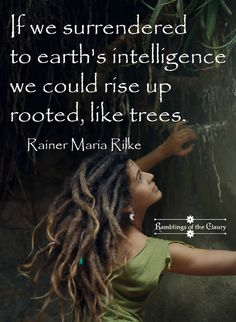 If we surrendered to earth's intelligence we could rise up rooted, like trees #Rilke #earth #tree #root #freedom #strength #inspirational