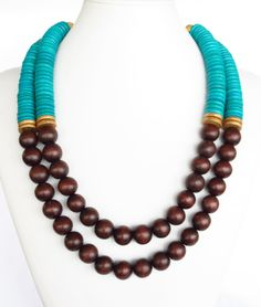 COLOR BLOCK Wood Necklace - Brown & Turquoise Beaded Necklace - Anthropologie Inspired