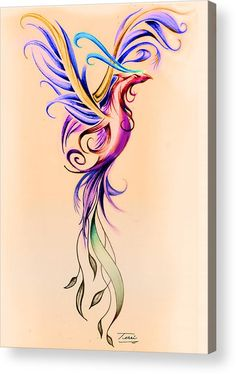 Bird Acrylic Print featuring the drawing Phoenix Color by Terri Meredith