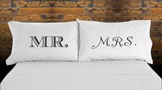 Check out this item in my Etsy shop https://www.etsy.com/listing/223326614/couples-pillow-cases-mr-and-mrs