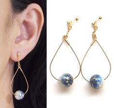 Wabi Sabi Invisible Clip On Earrings Dangle Anese Arabesque Ball Non Pierced Blue Karakusa Gold Hoop Cip Ons