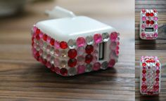Rhinestone iPad charger from Design Heini. Diy Projects To Try, Tuesday, Charger, Ipad, Diy Crafts, Cake, Desserts, Design, Tailgate Desserts