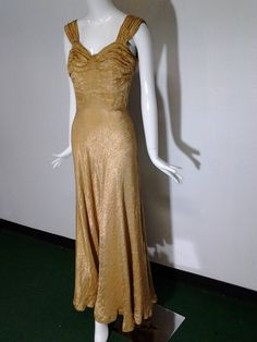1930s Gold Lame Bias Cut Gown w/ Sexy Lace-Up Back Detail and Full Hem | From a collection of rare vintage evening dresses at https://www.1stdibs.com/fashion/clothing/evening-dresses/