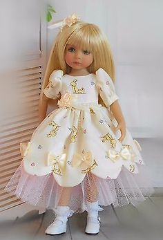 """Handmade dress and floral hair clip fits Dianna Effner 13"""" little darling doll"""