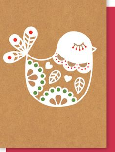 Chirp! Folk art Scandi bird greeting card by elly oak.