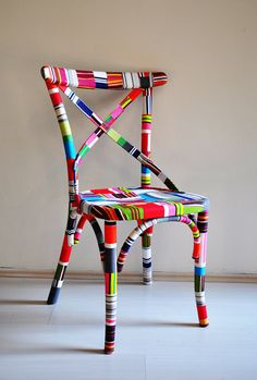 chair covered in fabric scraps