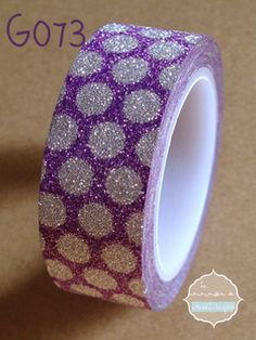 Washi Tape Glitter lila lunares plata