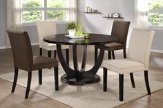 CAFE 5171. A new modern style dining set. It is a nice dining room set that enhances the look of your dining room. Brown/Cherry.