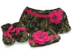 Camo Baby girl shawl hat booties set crochet by Loopedwithlove4U, $45.00