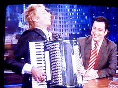 Barry Manilow playing one of our accordions on Jimmy Kimmel Live
