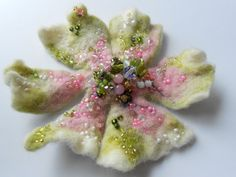 Wool Felted Pink Light Green and White Spring Flower by MaijaFeja, $32.00