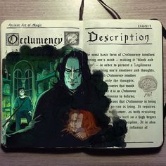 """""""The mind is not a book to be opened at will and examined at leisure."""" – Severus Snape #hpspellbooks #snape #severussnape #illustration…"""