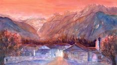 Swiss Mountains Soglio Watercolor Painting by Sabina von Arx, Beautiful colors of late fall in the swiss mountain village Soglio in the valley of Switzerland. Prints are available in different sizes and qualities and as Home Decor. Mountain Village, Mountain Art, Alpine Mountain, Alpine Village, Canvas Art, Canvas Prints, Thing 1, Sunset Colors, Mountain Paintings