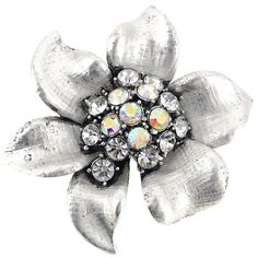This beautiful brooch features dazzling round-cut cubic zirconia in the center of its floral design and secures with a safety pin clasp. An antique finish gives this piece a classic appeal.