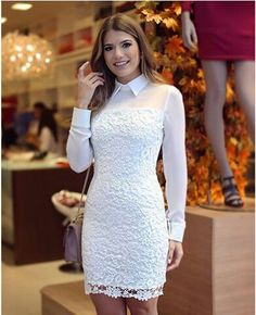 Vestido de renda gripir justo branco