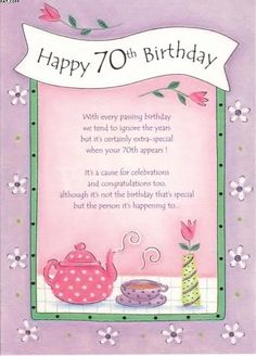 70th Birthday Poems Verses For Cards Words Wishes Sentiments Greeting Quotes
