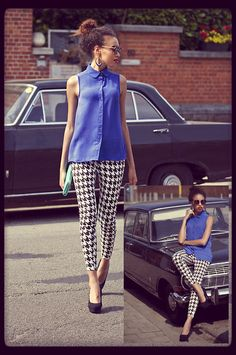 houndstooth leggings and sleeveless blue blouse