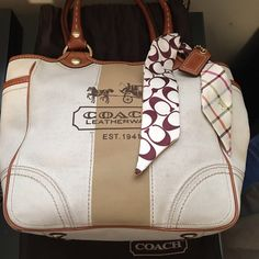 Coach Canvas purse.   Does have some dust again as shown in pics.  Scarf sold separately. Coach Bags Totes
