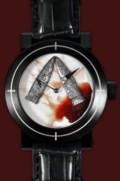 ArtyA's Avant Garde Halloween Art Watch With Blood And Bullets