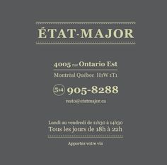 Restaurant État-Major Ontario, Etat Major, Movie Posters, Restaurants, City, Film Poster, Restaurant, Diners, Film Posters