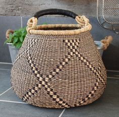X Large Bolga Basket. Hand made in Ghana using river reeds to make this incredibly beautiful, useful, durable basket. The long strong handles makes carrying easy. Great for market, picnics, etc. Assor