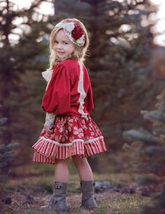 Persnickety Clothing – Holiday Anna Jean Top in Red – Kids Fashion Fashion Kids, Vintage Kids Fashion, Toddler Fashion, Girl Fashion, Fashion Fall, School Fashion, Fashion 2017, Princess Fashion, Trendy Fashion