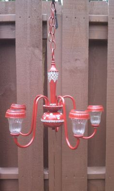 Solar chandelier. Great reuse for an old chandelier.