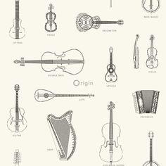 Origin behang muziekinstrumenten zwart en wit The Originals, Vintage, Products, Vintage Comics, Gadget