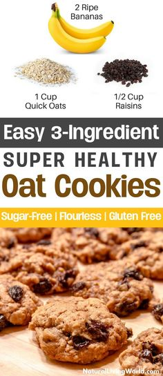Easy 3 ingredient snack recipes for kids and adults! Sugar-less, no flour, vegan, gluten free, dairy free, healthy cookie treats and desserts! This recipe is perfect for weight loss and health. #healthysnacksforweightloss